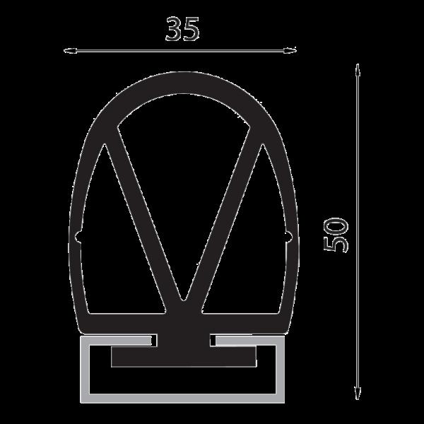 DEA Passive Edge Black rubber profile per Meter Image | Metro Solutions